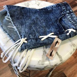 ‼️ Acid Wash Stretch Denim Side Laced Shorts